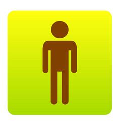 Man sign brown icon at green vector