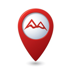 Map pointer with mountain icon vector image vector image