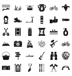 Nature adventure icons set simple style vector