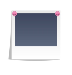 Photo frame on wall with pink pins isolated on vector