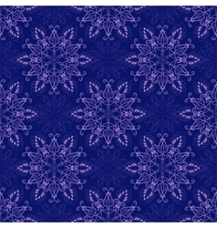 Seamless Mandala Pattern over dark blue vector image