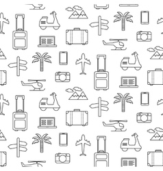 Seamless pattern with travel icons set vector