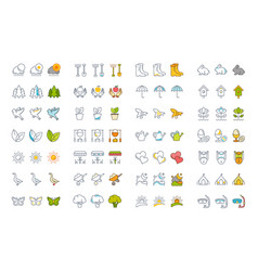 Set flat line icons spring vector