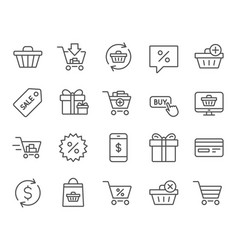 Shopping line icons gifts presents and sale vector