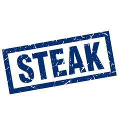 Square grunge blue steak stamp vector