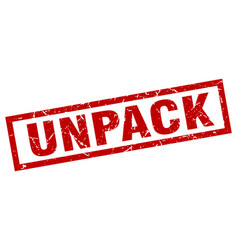 Square grunge red unpack stamp vector