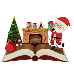 Storybook with santa claus and christmas night vector