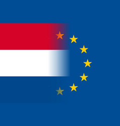 The netherlands national flag with a star circle vector