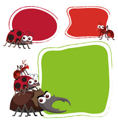 three border template with cute bugs vector image vector image
