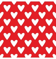Tile cute pattern with white hearts red background vector image vector image