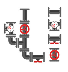 water pipe plumbing parts with valve vector image