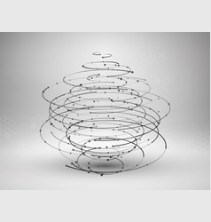 wireframe mesh element abstract swirl form with vector image vector image