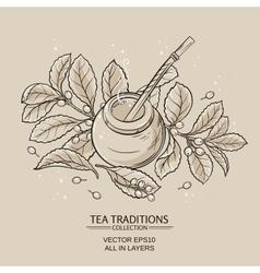 Mate tea in calabash and bombilla vector