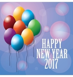 Happy new year 2017 greeting card ed balloons vector