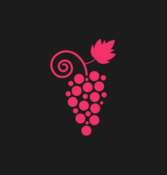 Pink grape icon on black background vector