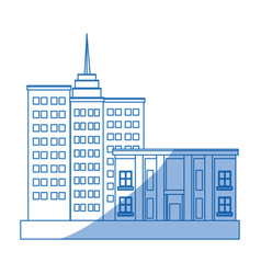 Business center and residential downtown city area vector