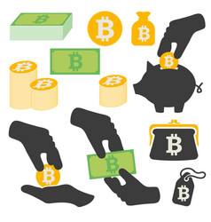 Bitcoin symbols icons set vector