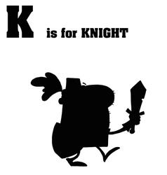 Knight cartoon silhouette vector image