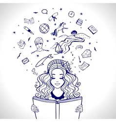girl reads vector image