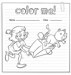 A worksheet with a girl and a cat vector