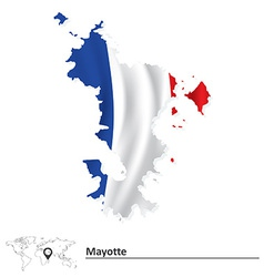 Map of mayotte with flag vector