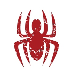 Red grunge spider logo vector image
