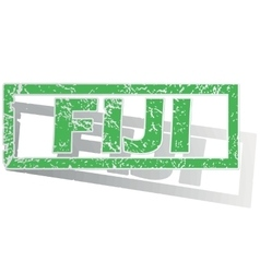 Green outlined fiji stamp vector