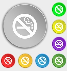 No smoking icon sign symbol on five flat buttons vector