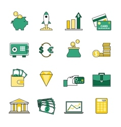 Set of banking and currency exchange line icons vector