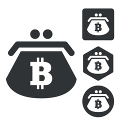 Bitcoin purse icon set monochrome vector