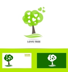 Tree heart love concept logo vector