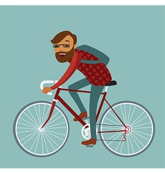 Young man hipster riding bike vector