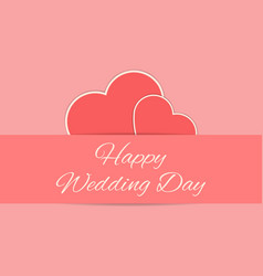 Wedding card with red hearts vector