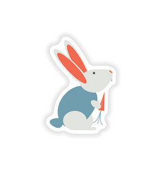 Stylish paper sticker on white background rabbit vector