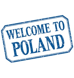 Poland - welcome blue vintage isolated label vector