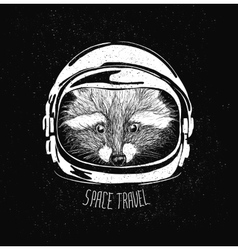 Space helmet racoon vector