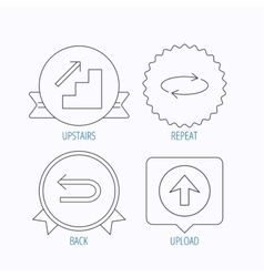Arrows icons upload repeat linear signs vector
