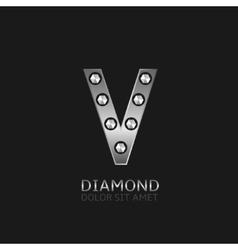 Silver v letter vector