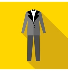 Mens wedding suit icon flat style vector