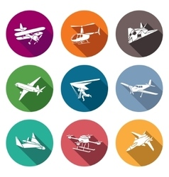 Air transport and the device icons set vector