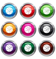 basketball ball set 9 collection vector image