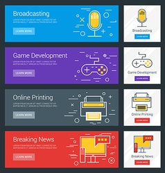 Broadcasting game development online printing vector