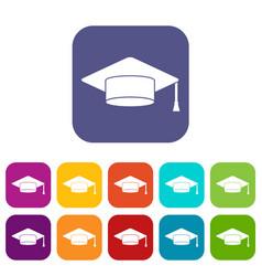 Cap student icons set vector