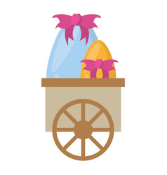Cart with easter eggs decoration bow vector