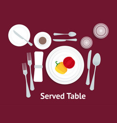 Cartoon table setting place formal with vegetables vector
