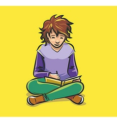 Child doing homework vector image