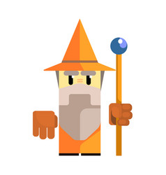 Cute cartoon gnome in an orange hat with a staff vector