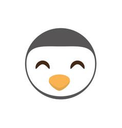 Cute face penguin animal cheerful vector