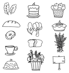 Doodle of thanksgiving set food vegetable vector