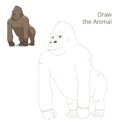 Draw the animal gorilla educational game vector